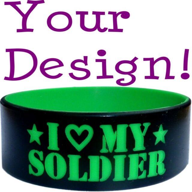 Colored Text Custom Silicone Wristband Bracelet Band No Minimum Reg Or 1 Inch