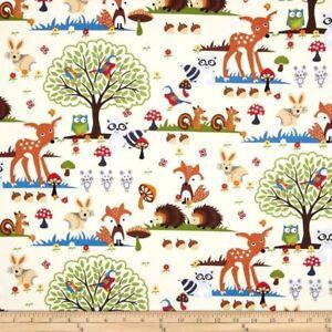Woodland Scene Forest Animals Fox Hedgehog Deer Cotton Fabric By The Yard Ebay