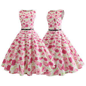 Womens-Retro-Vintage-50s-Floral-Swing-Summer-Sleeveless-Rockabilly-Party-Dress