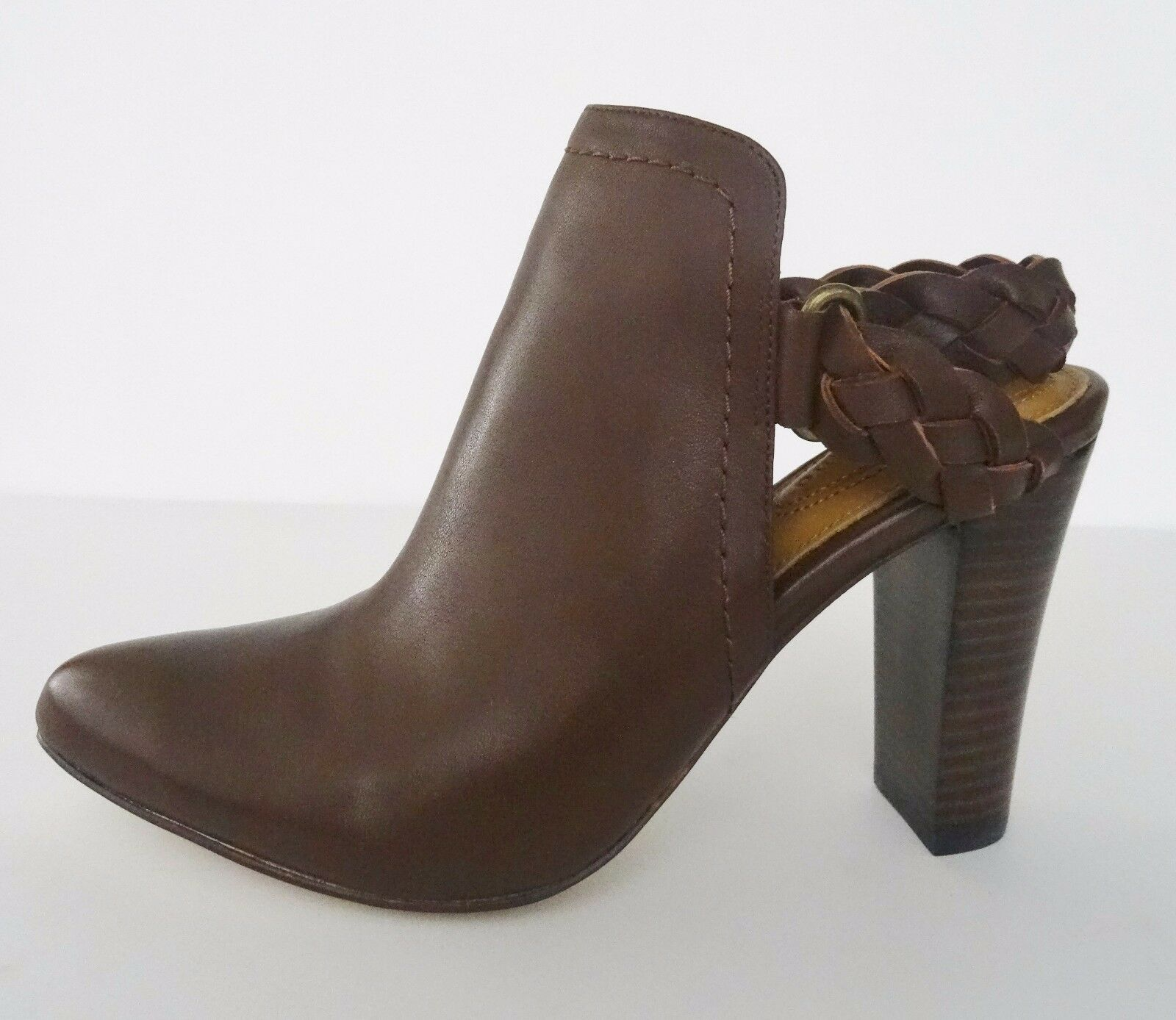 NIB Corso Como Williamsburg Braided Strap Bootie Heel  8.5 M Chestnut Brown 178