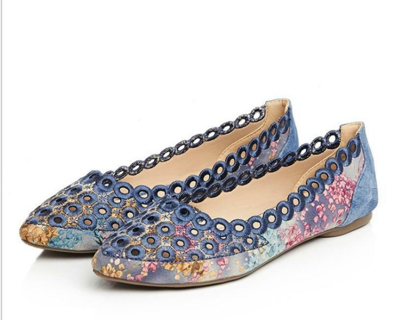 US4-10 Womens Printed Floral Moccasins Loafers Pumps Flats Hollow Out shoes New