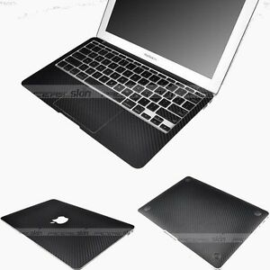 the best attitude b0acf edb23 Details about Black Carbon Fiber 3D Skin Sticker Cover Case Protector for  MacBook Air 13 A1466
