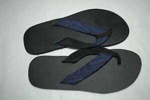 Mens Flip Flops BLACK & BLUE FABRIC STRAP Size S 7-8 M 9-10 L 11-12 XL 13-14