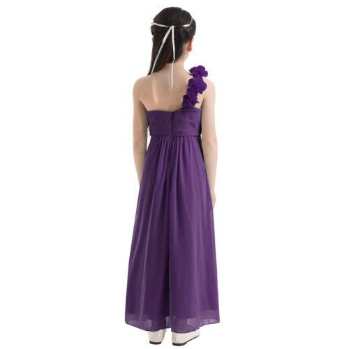 Flower Girls Dress Princess Party Wedding Bridesmaid One-shoulder Maxi Long Gown
