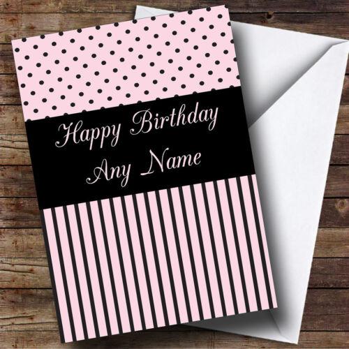 Paris chic pink Polkadot /& stripes Personnalisé Anniversaire Carte de vœux