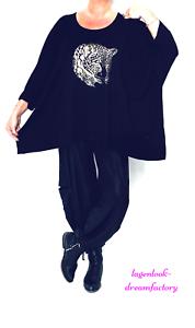 Lagenlook OVERSIZE Blogger Kasten-Shirt SCHWARZ Folien-Print 46 48 50 52 56 58