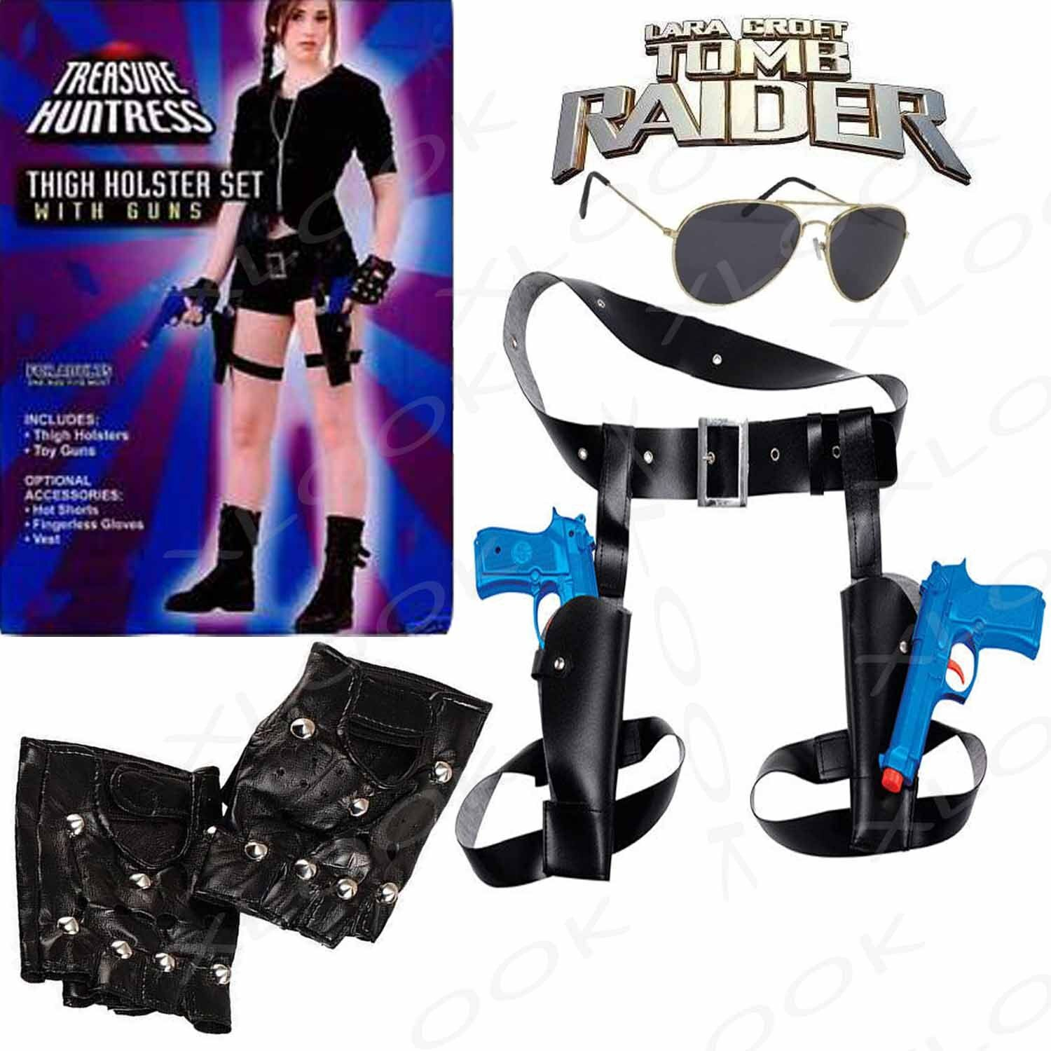 Gloves and Sunglasses Lara Croft Costume accessories With Twin Guns