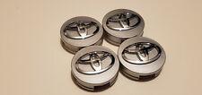 4x Toyota Wheel Rims Center Hub Cap Caps Silver Base Chrome Logo 62mm Camry Mor