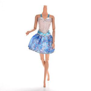 1-Pcs-Blue-and-White-Sling-Dresses-for-Barbies-Princess-Dolls-13cm-with-Belt-SP
