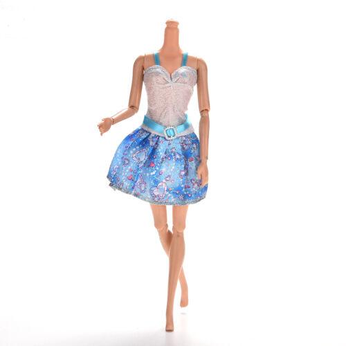1 Pcs Blue and White Sling Dresses for  Princess Dolls 13cm with Belt SP