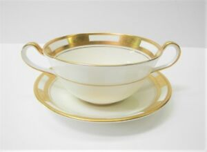 AYNSLEY-EMPRESS-WHITE-Cream-Soup-Bowl-with-Saucer-Fine-Bone-China