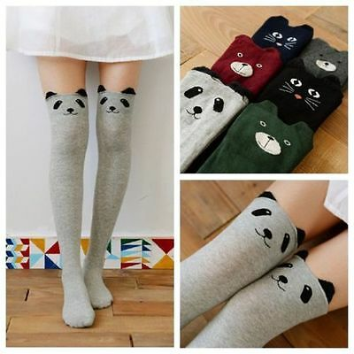 2 Pairs Lot Women Girl Cute 3D Cartoon Cat Bear Pattern Cotton Thigh High Socks