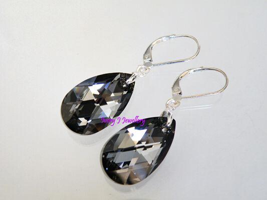 Glittery BLACK Crystal Teardrop Earrings Swarovski Elements 925 Sterling Silver