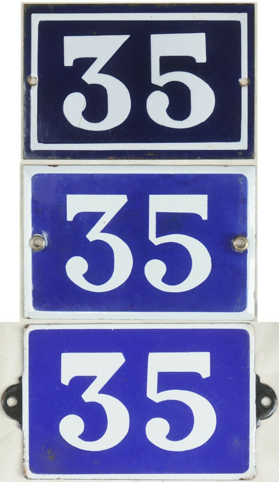 Old Blau French house number 35 door gate plate plaque enamel steel metal sign