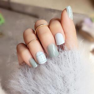 false nails 24pcs jasper short oval white line full cover