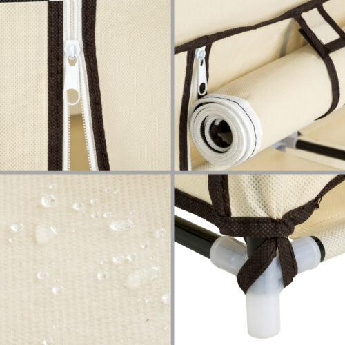 Triple Armario de lona tela ropa organizador guardarropa con barras de colgar b