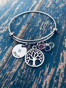 Mothers Birthstone Bracelet Grandmothers bracelet silver plated bracelet
