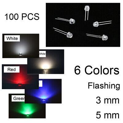 100PCS LED Emitting Diodes Pink Wide Angle F3 F5 3mm 5mm 6 Color Warm