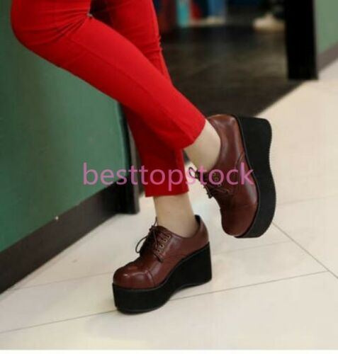 College Style Womens Round Toe Lace UP Flats Heels Creepers Shoes Platform sweet