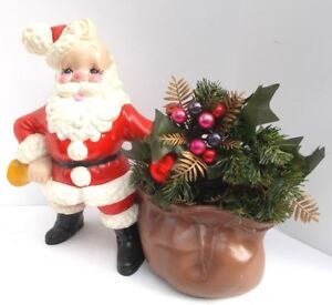 Vintage-Ceramic-Santa-Claus-with-Bell-and-Toy-Sack-Planter-Atlantic-Mold-12-034