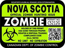 Canada Nova Scotia Zombie Hunting License Permit 3x4 Decal Sticker 1306
