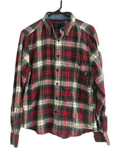 Woolrich-Cotton-Flannel-Shirt-Mens-Small-Red-Plaid-Button-Down-Long-Sleeve-Euc
