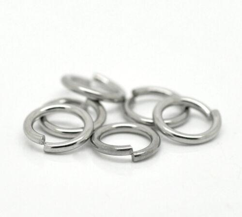 Großverkauf Silberfarbe Edelstahl Ösen Bindering Biegering offen Ringe 10x1.5mm