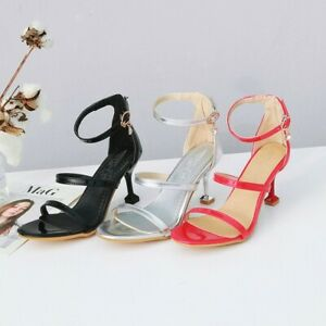 Fashion-Sandals-Womens-Open-Toe-Stiletto-Heel-Buckle-Strap-Patent-Leather-Shoes