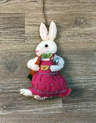 HAND MADE CROSS STITCH APPLIQUED FELT Easter CHRISTMAS ORNAMENT BUNNY RABBIT