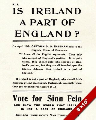 SINN FEIN IRELAND BRITAIN SEPARATION 1918 ELECTION POSTER REAL CANVASART PRINT