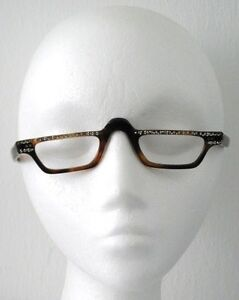 76b2e459c8f Image is loading SWAN-USA-EYEGLASS-FRAMES-ANTIQUE-BROWN-RHINESTONE-DETAILS-