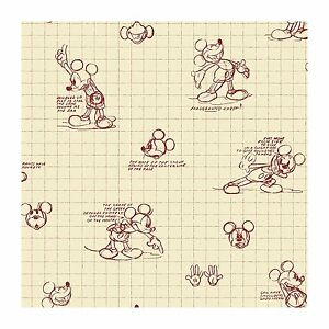 Walt Disney Mickey Mouse Sketches Red On Cream Wallpaper Dk6084