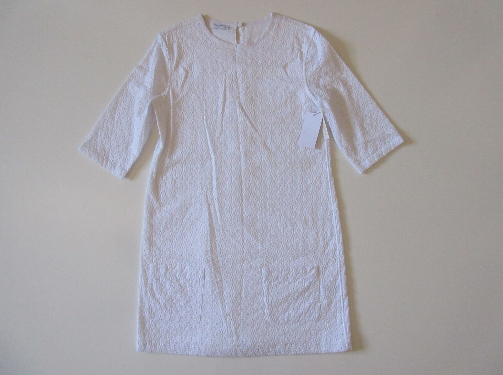 NWT Equipment Aubrey in White Floral Eyelet Eyelet Eyelet Short Sleeve Shift Dress S  268 2f9162