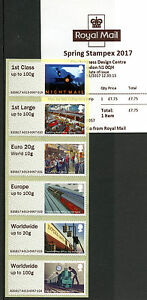 GB 2017 MNH Mail by Rail Post & Go Spring Stampex 6v Collector Strip A013 Stamps
