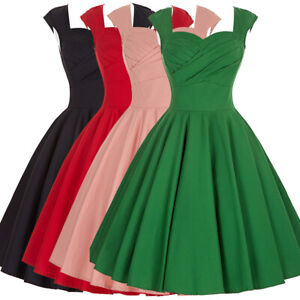 Womens-50s-Style-Vintage-Dress-Cocktail-Evening-Party-Retro-V-neck-Swing-Dresses