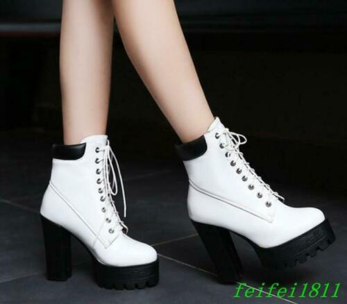 Women Ankle Boots Lace Up Block High Heel Platform Dress Party Casual Shoes Size