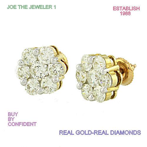 G NEUF Diamant Fantaisie Fleur Boucles D/'Oreilles 0.25 CTW//10K or jaune à vis dos NEUF SI1