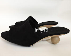 ZARA NEW WOMAN BLACK LEATHER ROUNDED-HEEL MULES SANDALS 36-41 REF ...