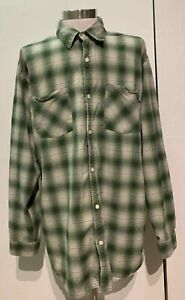 Carhartt-Force-Flannel-Shirt-Mens-Plaid-Button-Down-Green-XL-Work