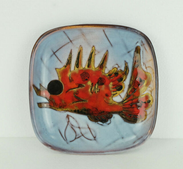 1960's 1970's WALL PLATE bowl exotic fish french pottery vallauris signed
