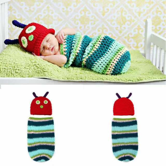 194e76aeb Baby Cocoon Hat Swaddle Sleeping Bag Handmade Cute Crochet Hungry Caterpill