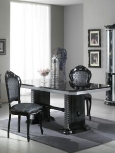 Details About Versace Design Black Silver Italian High Gloss Dining Table 6 Fabric Chairs