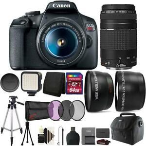 Canon Eos Rebel T7 Dslr Camera Objectif 18 55 Mm Objectif 75 300 Mm Kit Ebay
