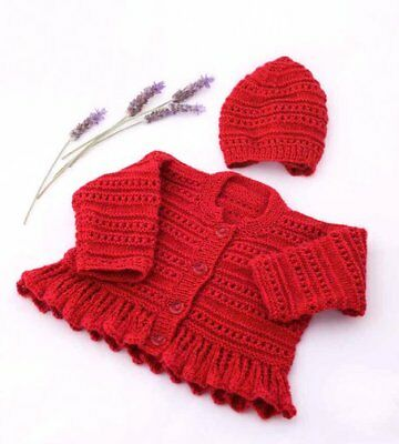 """Frilly Peplum Cardigan plain or 2 Colour 16/"""" 26/"""" 4 Ply Baby Knitting Pattern"""