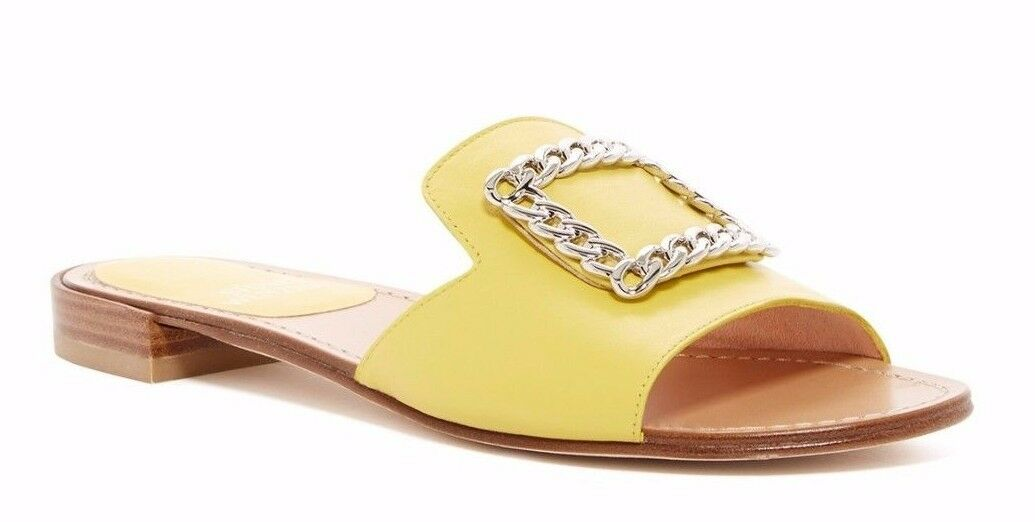 325 Stuart Weitzman Jacqui Chain Slide Sandal Leather Lemon Yellow Size 7.5