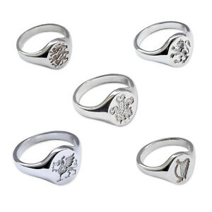 925-Sterling-Silver-Crest-Signet-Rings-14x12mm-English-Scottish-Welsh-HM-Solid