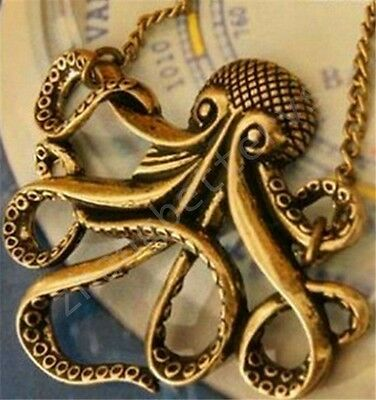 Women Vintage Bronze Octopus Style Dress Sweater Chain Necklace Pendants Pendent