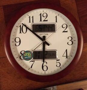 Rhythm Quartz Estado Wall Clock Digital Date Temperature
