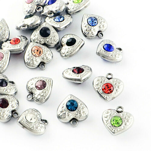 5 Stainless Steel Heart Charms with Rhinestones Two Sided Emerald Green MT389