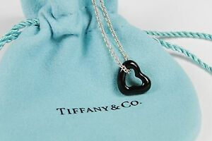 99462174ab1db Details about Tiffany & Co Elsa Peretti Black Jade Open Heart Pendant  Necklace Gorgeous
